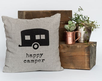"""Happy Camper - Throw Pillow, Decorative Pillow, Accent Pillow - 18"""" X 18"""" In Light Flax, Light Grey Or Cream"""