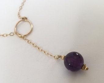 Amethyst goldfilled necklace, Purple amethyst, Birthstone Jewelry, Purple necklace, Gold necklace, Amethyst pendant, Amethyst gemstone,