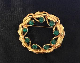 Vintage Laurel Leaf Brooch, Green Rhinestones