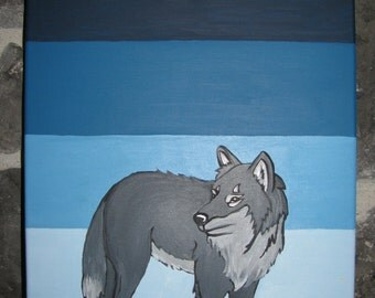 Wolf canvas painted by hand, blue gradient, child room decoration