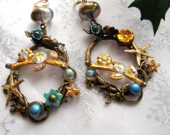 """Earrings spirit fairy on a bronze engraving of l""""' antique gold the opal and Crystal"""