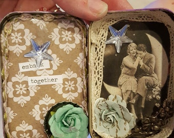 "Altered altoid tin shadow box, handmade one of a kind romantic gift idea, ""Sweethearts"" upcycled altered tin art w/ Shakespeare quote"