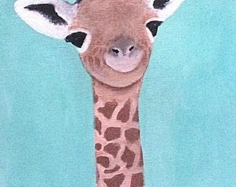 Giraffe Print, Peekaboo Animal Print, Giraffe Nursery, Giraffe Gift, Colourful Wall Art