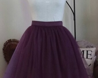 Free Shipping to USA Custom Made Adult Eggplant Tulle Skirt -for bridesmaid, photo prop
