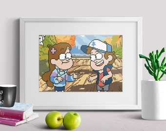 Gravity Falls cross stitch pattern pdf instant download disney cross stitch pattern dipper cross stitch pattern Mabel cross stitch pattern