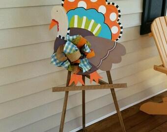 Funky Turkey Door Hanger // Fall Door Decorations // Thanksgiving Turkey Door Hanger & Turkey door hanger | Etsy Pezcame.Com