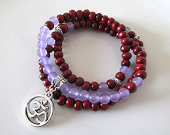 Mala bracelet lavender jade gemstone mala beads sandalwood mala necklace 108 bead om mala jade mala prayer beads Buddhist yoga gift.