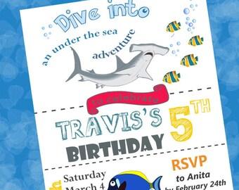 Fish & Shark Birthday Party Invitation 4x6 High Resolution Image