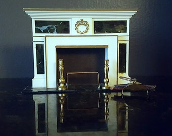 doll house miniature regency hearthplace fireplace log holder hearth accessories logs andiron petite princess ideal toy - Fireplace Log Holder