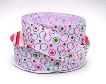 "1 1/2"" Bubble Ribbon - Pink & Green Bubbles on Grosgrain Ribbon"