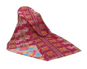 Handmade Vintage Kantha Quilt Indian Sari Floral Kantha Throw