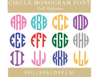 Circle Monogram Font svg (SVG, EPS, DXF, Ai), Monogram Alphabet svg, Circle Monogram Alphabet, Cricut svg, Silhouette svg, svg cutting files