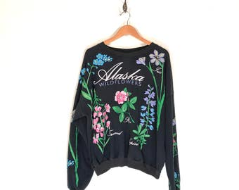 90s Alaska Wildflowers Sweatshirt. Vintage 1991 Iris Rose Fireweed Lupine Wildflower Alaska Nature Souvenir Crew Neck.
