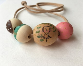 SALE - Wooden bead necklace, painted wood beads, portrait, hand made jewelry, original art