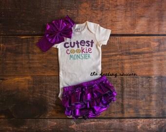 Cutest cookie monster infant girl bodysuit, baby girl bodysuit, baby girl outfit, purple bloomers, cookie monster, cutest baby, ruffles