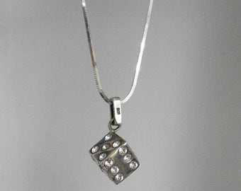 Solid Silver Dice and Rhinestone Necklace, 925, on Silver Chain