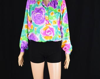 Vintage Classic Da Rue Multi Color Top Blouse / Chic Floral Print Womens Blouse / Size 6 / Made in USA