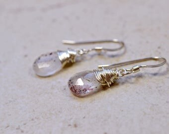 Tiny Moss Amethyst Earrings, Rutilated Gemstones, Sterling Silver Wire Wrap Jewelry, February Birthstone