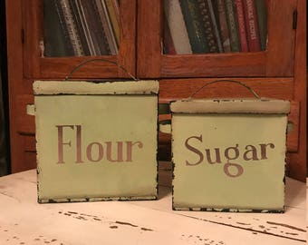 Retro and Shabby Chic! Two Distressed Olive Green Metal/Tin Storage Containers for Flour and Sugar