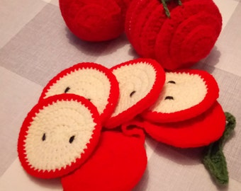 Crochet apple coaster set (4 Coasters)
