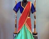 Designer Chandari Silk Half Sari, Lengha Set (Blouse size 38, Lengha Length 40)