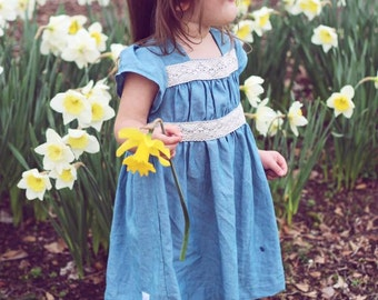 Girls spring clothes - Girls chambray dress - girls dress - toddler girls dress - dress for girls - spring outfit for girls