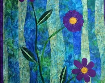 Art Quilt Purple Flowers, Quilted Wall Hanging Purple Blue Green, Landscape Quilt, Quilted Wall Art, Home Decor Fiber Art