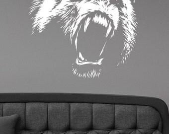 Roaring Bear Wall Sticker Vinyl Decal Hunting Wild Animal Art Decorations for Home Housewares Living Room Bedroom Dorm Office Decor br5
