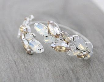 Bridal bracelet, Crystal bracelet, Bridal jewelry, White opal bracelet, Sterling silver bracelet, Swarovski bracelet, Champagne wedding