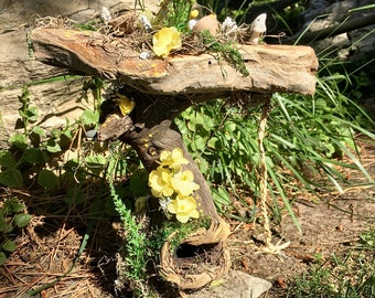 Magical Fairy House, Yellow Fairy House, Natural Fairy House, Wood Fairy House, Fairy with House, Tree Fairy House, Yellow Pixie House,