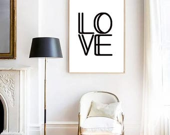 Love PRINT, Typography Poster, Love Poster, Modern Minimalist, Scandinavian Print, Wall Art, Inspirational Quote, Love Quote, Black & White