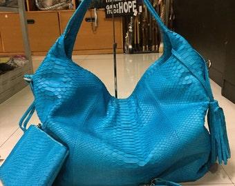 Python Bag, Python Handbag, Blue Handbag, Snakeskin Bag, Python Purse, Turquoise Purse, Snake Skin Bag, Leather Hobo Bag, Blue Leather Bag