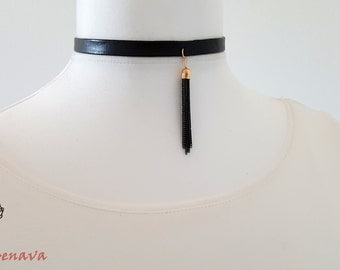 Choker necklace collar vintage black