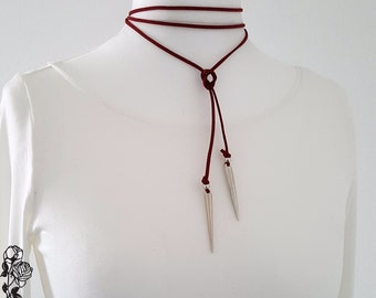 Choker necklace collar cord red silver