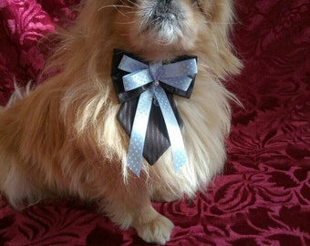 Dog Necktie Set - Black Tie with Black & Blue Bow tie - No Buckle Dog Adjustable Collar