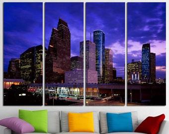 Houston Canvas Set Houston Wall Art Houston Canvas Art Houston Print Houston Wall Decor Houston Poster Houston Skyline Houston Photo