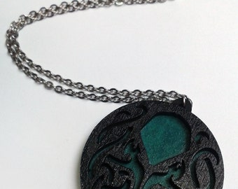 Cthulhu Hand Painted Wooden Laser Cutted Necklace