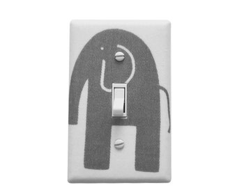 Grey and white light switch plate cover-Elephant Nursery decor-Baby gender Neutral  Ask a question