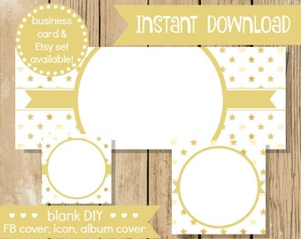 Blank DIY Facebook Set - Gold Stars - Do It Yourself Shop Set - Facebook Cover - Gold White Star Facebook Set Banner - INSTANT DOWNLOAD