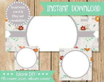 Blank DIY Facebook Set - Grey Bird Cage - Do It Yourself Blank Facebook Cover - Aqua Grey Blank Facebook Set Banner - INSTANT DOWNLOAD