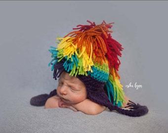 Mohawk Hat, Rainbow Baby Hat, Baby Mohawk Hat, Rainbow Hat, Newborn Baby Hat, Infant Hat