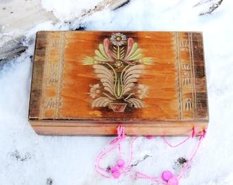 jewelry box Vintage Wooden Box Wood Box hand carved box Jewelry Box Treasure Box Rustic Home Decor Storage Box Trinket box russian box