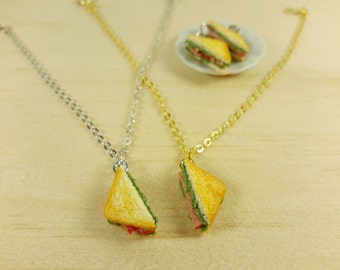 Sandwich bracelet, food bracelet, gold, silver color chain bracelet, sandwich charm,miniature food,polymer clay,food jewelry