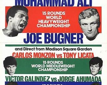 Vintage 1975 Mohammad Ali Joe Bugner Boxing Poster A3 Print