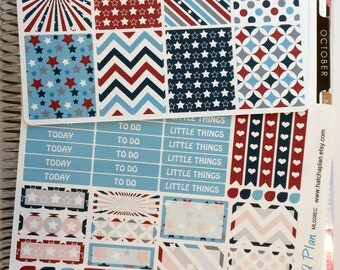 4th of July Planner Stickers   Independence Day Planner Stickers   Erin Condren Life Planner   Happy Planner   Weekly Sticker Kit   ML028