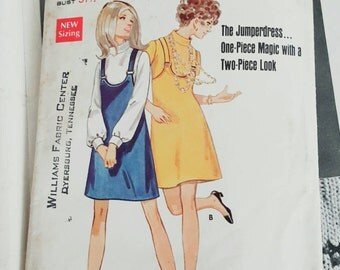 1969 Butterick 5412 Adorable Misses A Line Jumper Size 8 Partially Cut Complete Sewing Pattern ReTrO GrOOvy