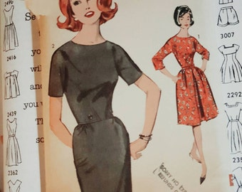 1963 Advance 3025 Sew Easy Misses Sheath Dress Size 14 CUT Complete Sewing Pattern ReTrO Party!