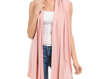 Sleeveless Asymmetric Open Front Vest Dusty Pink