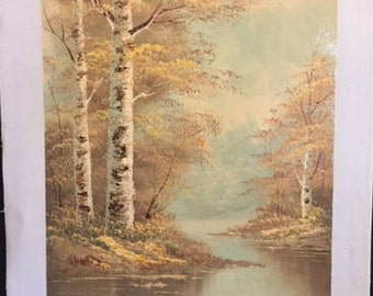 Trio of Original Oil Paintings - Landscape - Fall - Autumn - Mountain Lake - Forest