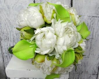 Peony bouquet, White peony lime calla wedding flowers, Lime wedding bouquet, White and lime silk flower bouquet, Peony calla bridal flowers,